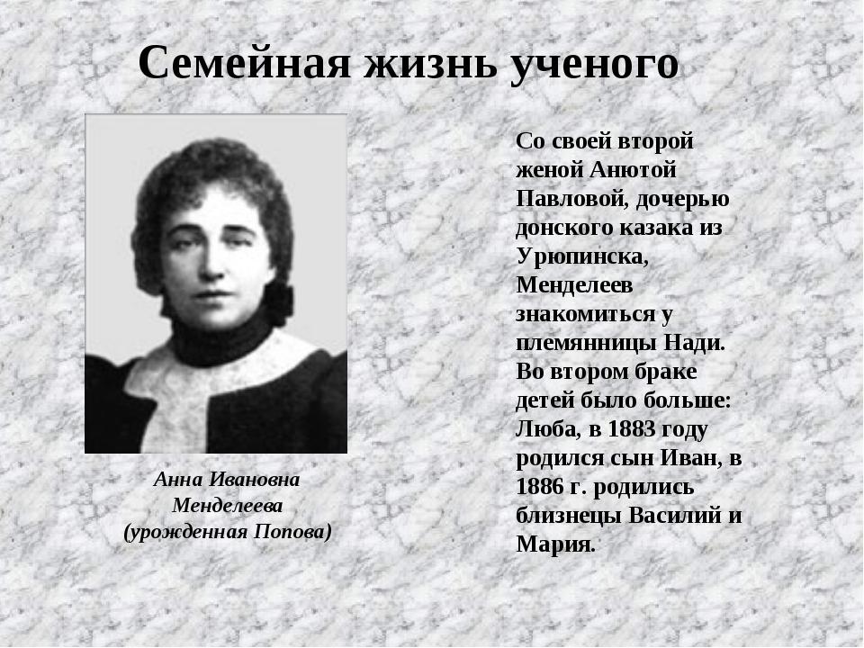 Анна Ивановна Менделеева (урожденная Попова) Со своей второй женой Анютой Пав...