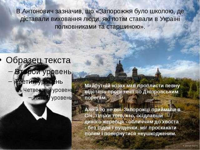 В.Антонович зазначив, що «Запорожжя було школою, де діставали виховання люди,...