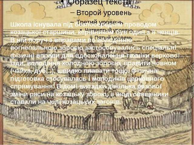 Школа існувала під безпосереднім проводом козацької старшини, керівником був...