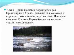 Косью – одна из самых порожистых рек Приполярного Урала. Название её и означа