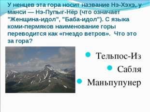 У ненцев эта гора носит название Нэ-Хэхэ, у манси — Нэ-Пупыг-Нёр (что означае