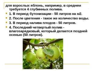 для взрослых яблонь, например, в среднем требуется 4 глубинных полива. 1. В п