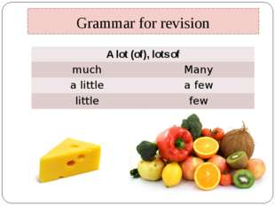 Grammar for revision A lot (of), lots of much Many alittle a few little few