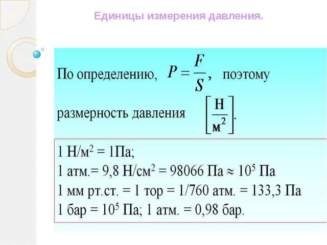 Единицы измерения давления.