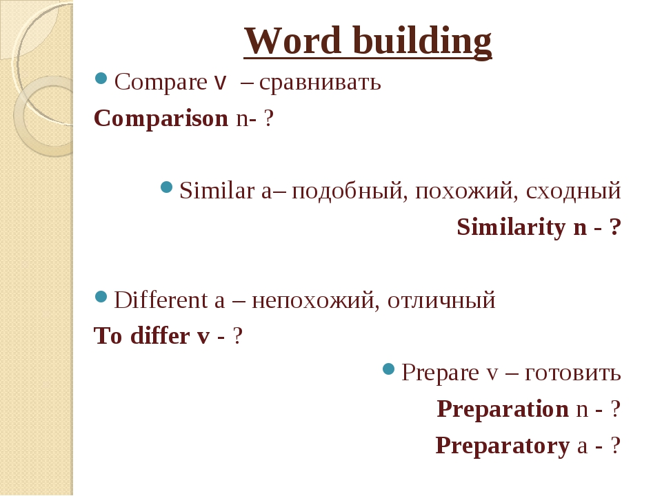 Word building Compare v – сравнивать Comparison n- ? Similar a– подобный, пох...