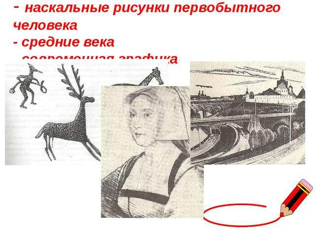 - наскальные рисунки первобытного человека - средние века - современная графика