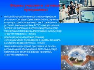 Формы участия в сетевых программах: межрегиональный семинар с международным у