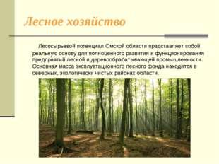 Лесное хозяйство Лесосырьевой потенциал Омской области представляет собой реа