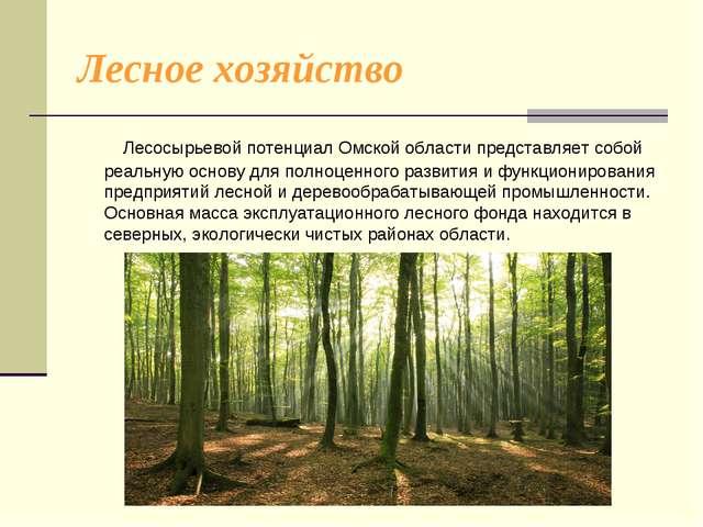 Лесное хозяйство Лесосырьевой потенциал Омской области представляет собой реа...