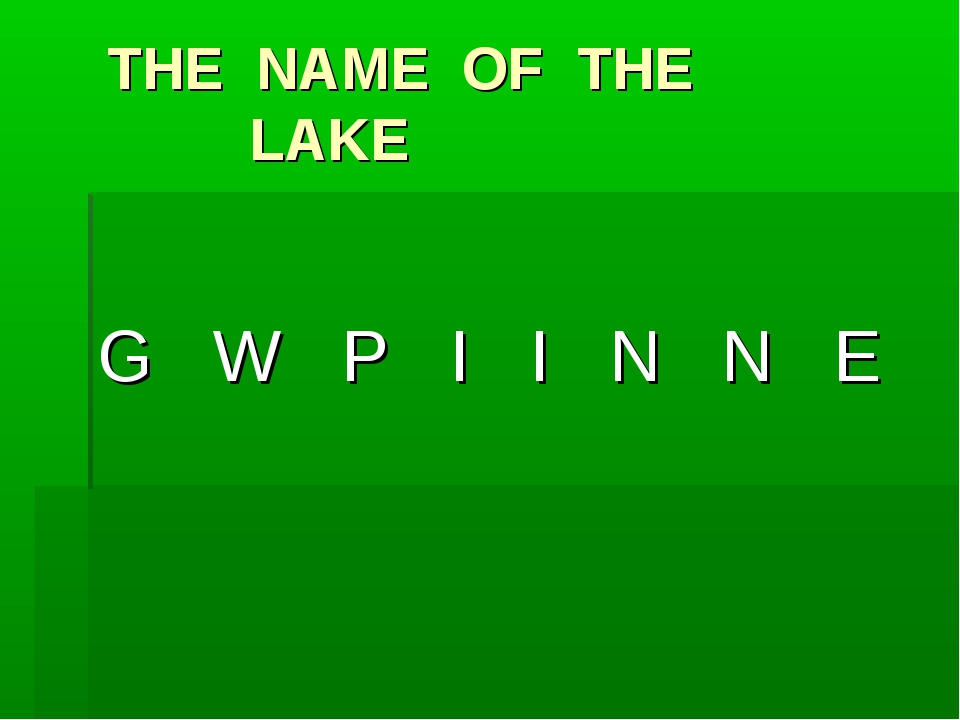 THE NAME OF THE 				LAKE G W P I I N N E