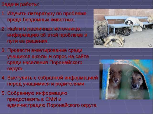 Задачи работы: Изучить литературу по проблеме вреда бездомных животных. Найти...