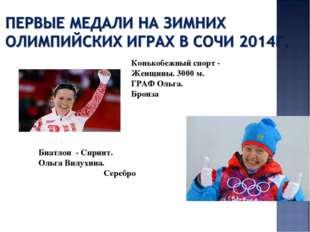 Конькобежный спорт - Женщины. 3000 м. ГРАФ Ольга. Бронза Биатлон - Спринт.