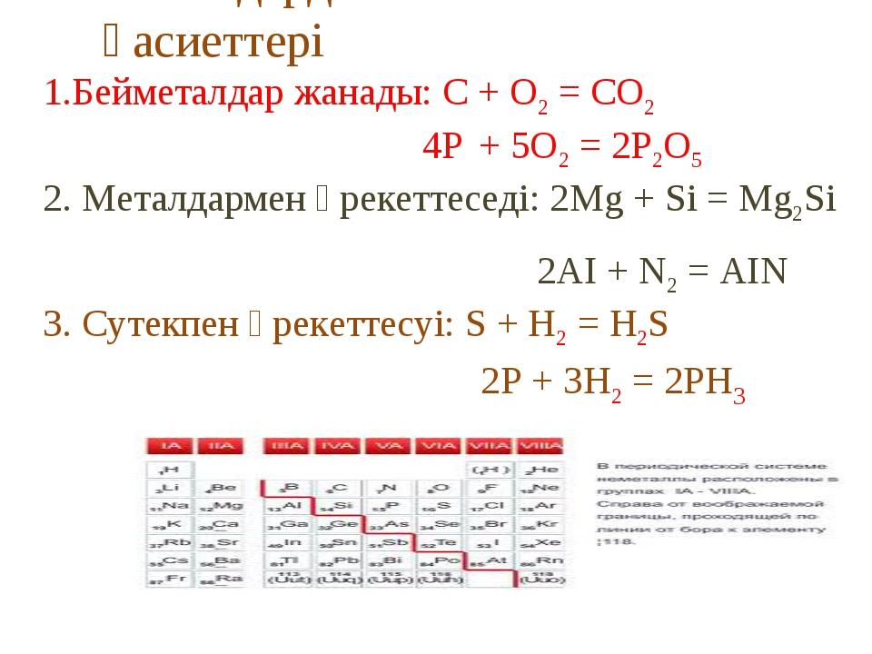 Бейметалдардың химиялық қасиеттері 1.Бейметалдар жанады: С + O2 = CO2 4P + 5O...