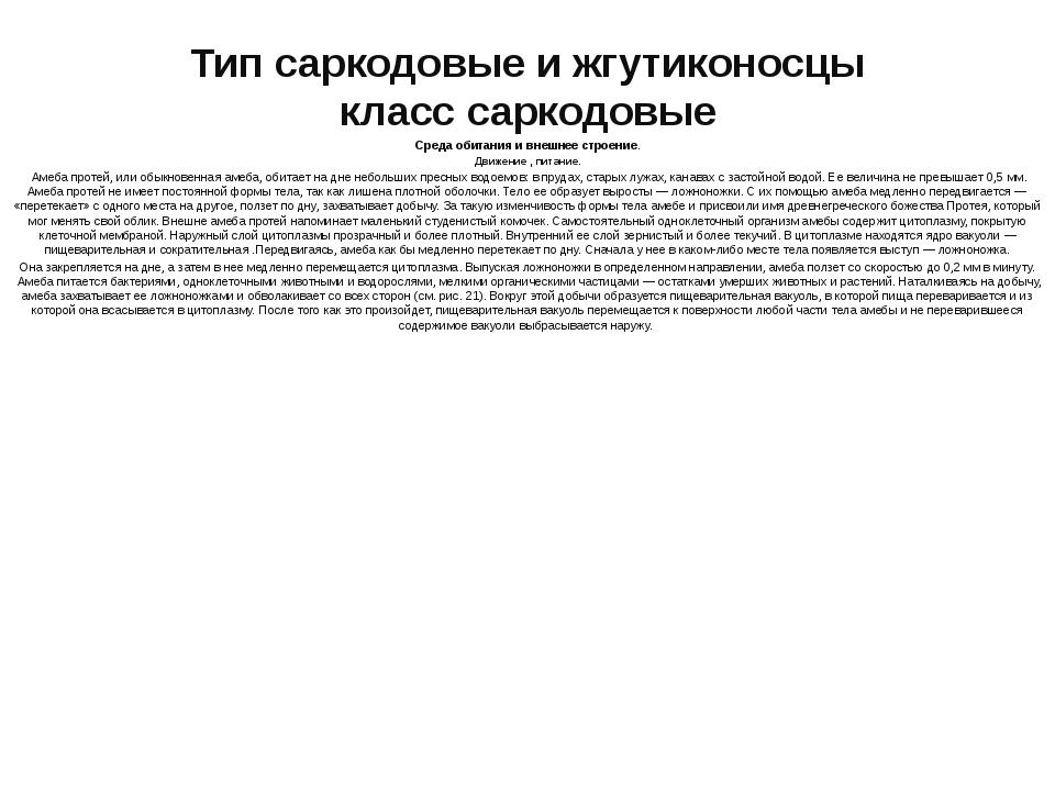 Тип саркодовые и жгутиконосцы класс саркодовые Среда обитания и внешнее строе...