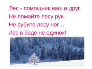 Лес - помощник наш и друг, Не ломайте лесу рук, Не рубите лесу ног… Лес в бед