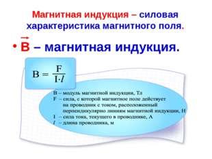 Магнитная индукция – силовая характеристика магнитного поля. В – магнитная ин