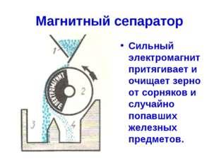 Магнитный сепаратор Сильный электромагнит притягивает и очищает зерно от сорн
