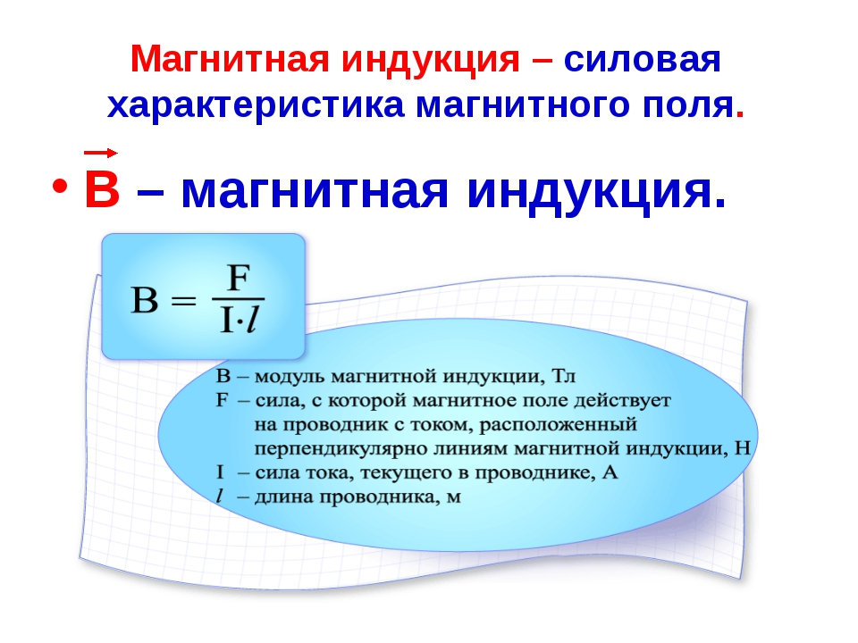 Магнитная индукция – силовая характеристика магнитного поля. В – магнитная ин...