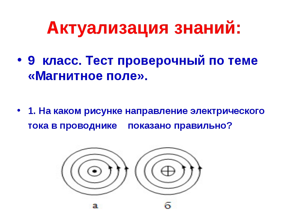 Актуализация знаний: 9 класс. Тест проверочный по теме «Магнитное поле». 1. Н...
