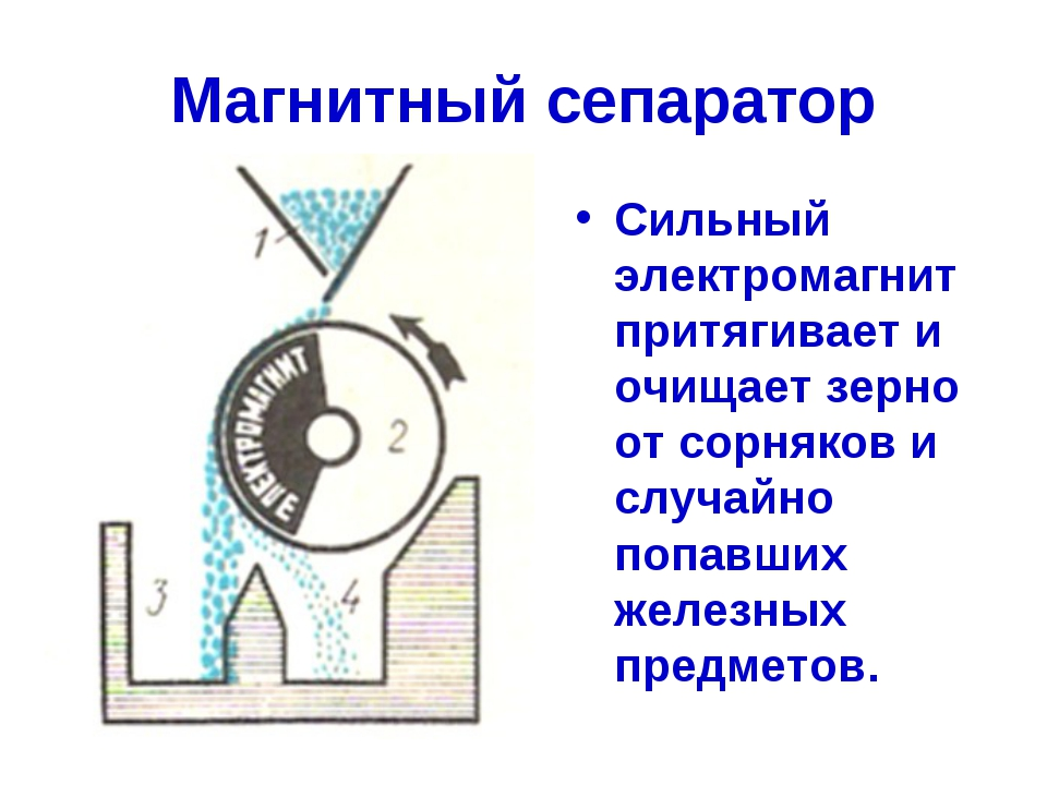 Магнитный сепаратор Сильный электромагнит притягивает и очищает зерно от сорн...