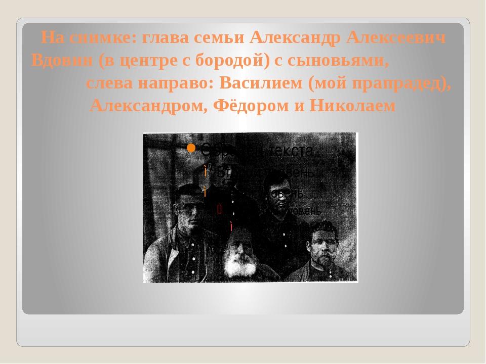 На снимке: глава семьи Александр Алексеевич Вдовин (в центре с бородой) с сын...