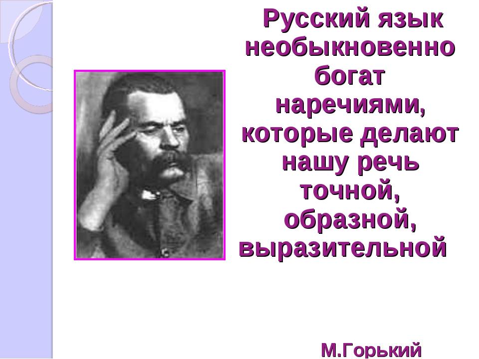Русский язык необыкновенно богат наречиями, которые делают нашу речь точной,...