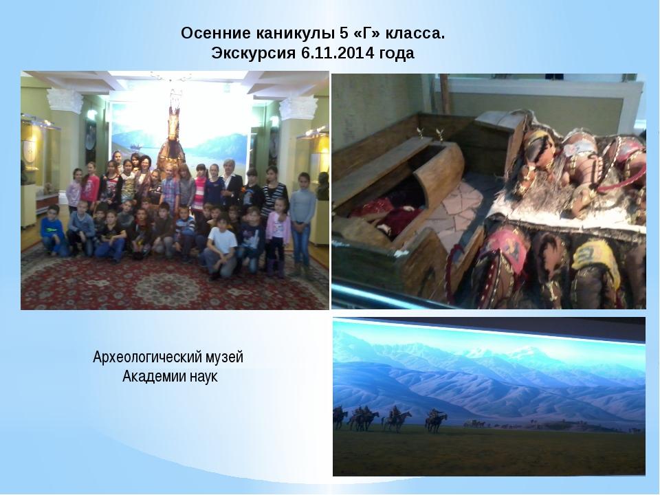 Осенние каникулы 5 «Г» класса. Экскурсия 6.11.2014 года Археологический музей...