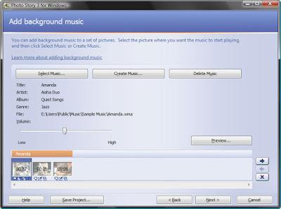 добавление фоновой музыки в Photo Story 3 для презентации из фотографий