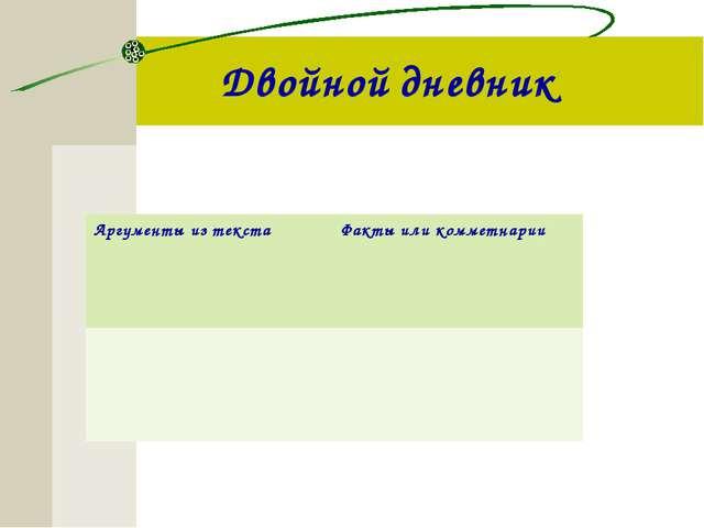 Двойной дневник Аргументы из текстаФакты или комметнарии