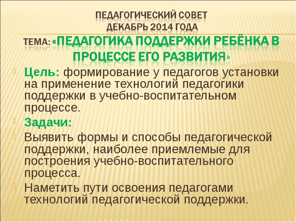 Цель: формирование у педагогов установки на применение технологий педагогики...