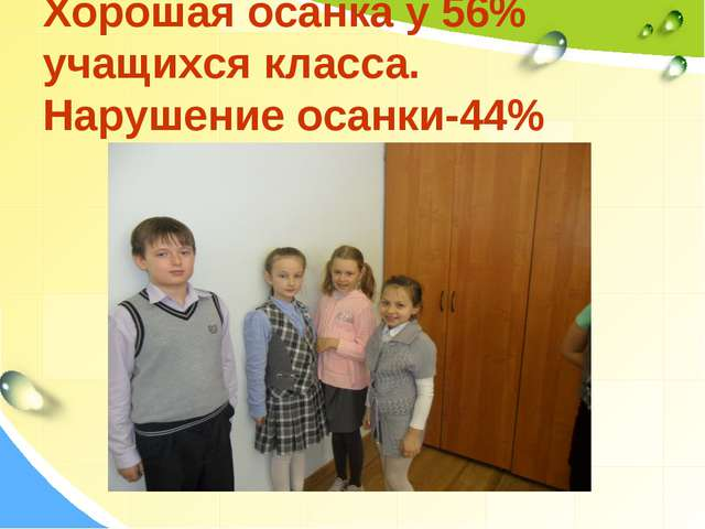 Хорошая осанка у 56% учащихся класса. Нарушение осанки-44%
