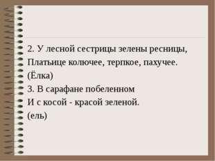 2. У лесной сестрицы зелены ресницы, Платьице колючее, терпкое, пахучее. (Ёл