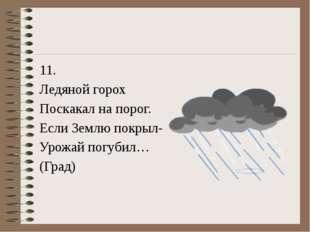 11. Ледяной горох Поскакал на порог. Если Землю покрыл- Урожай погубил… (Град)