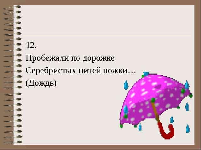12. Пробежали по дорожке Серебристых нитей ножки… (Дождь)