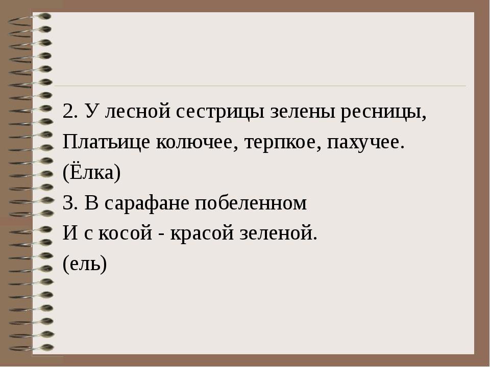 2. У лесной сестрицы зелены ресницы, Платьице колючее, терпкое, пахучее. (Ёл...