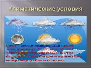 Климат— умеренно-континентальный с средней температурой января −7° −8° C, ию