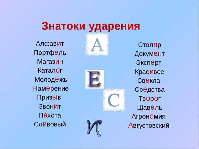 Знатоки ударения Алфавит Портфель Магазин Каталог Молодежь Намерение Призыв...