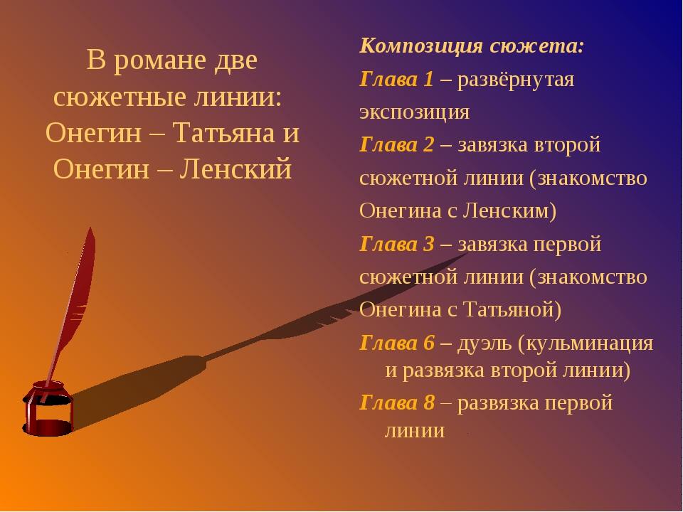 В романе две сюжетные линии: Онегин – Татьяна и Онегин – Ленский Композиция с...