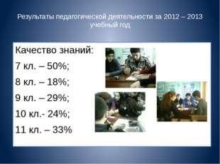 Результаты педагогической деятельности за 2012 – 2013 учебный год Качество зн