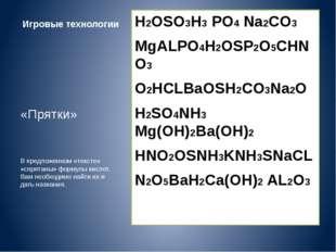 Игровые технологии H2OSO3H3 PO4 Na2CO3 MgALPO4H2OSP2O5CHNO3 O2HCLBaOSH2CO3Na2