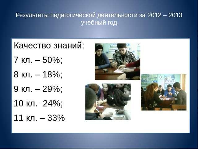 Результаты педагогической деятельности за 2012 – 2013 учебный год Качество зн...