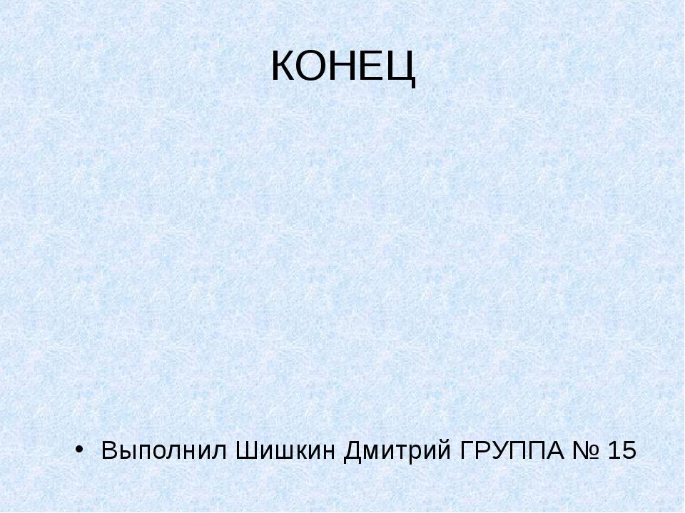 КОНЕЦ Выполнил Шишкин Дмитрий ГРУППА № 15