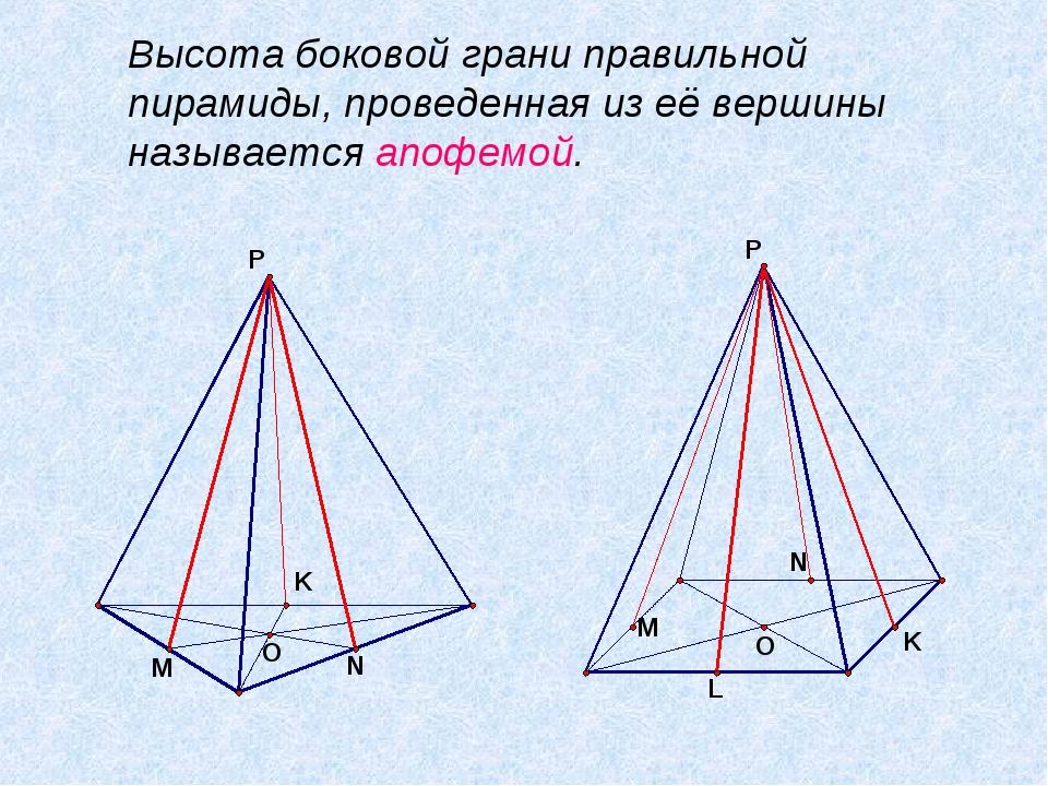 Высота боковой грани правильной пирамиды, проведенная из её вершины называет...