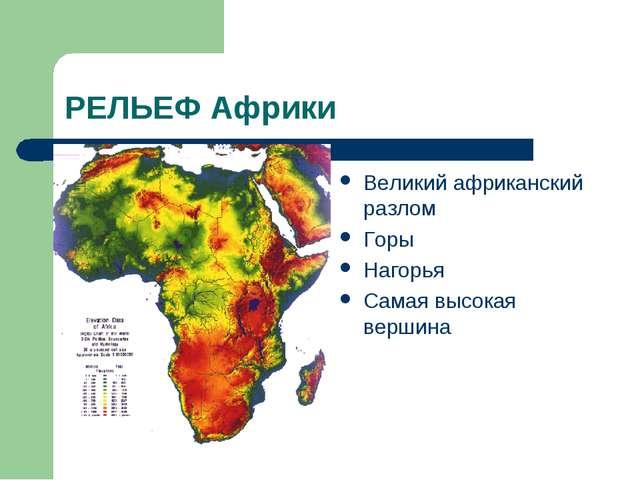 РЕЛЬЕФ Африки Великий африканский разлом Горы Нагорья Самая высокая вершина