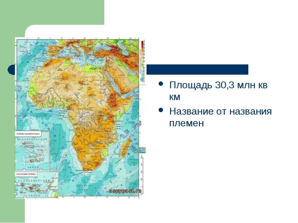 Африка Площадь 30,3 млн кв км Название от названия племен