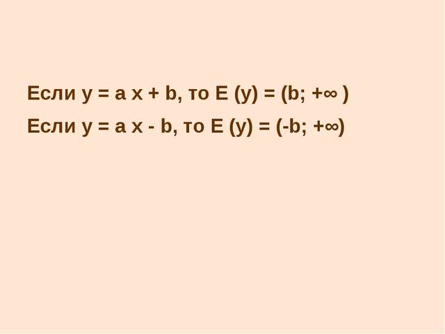 Если у = а x + b, то Е (у) = (b; +∞ ) Если у = а x - b, то Е (у) = (-b; +∞)