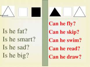 Is he fat? Is he smart? Is he sad? Is he big? Can he fly? Can he skip? Can he
