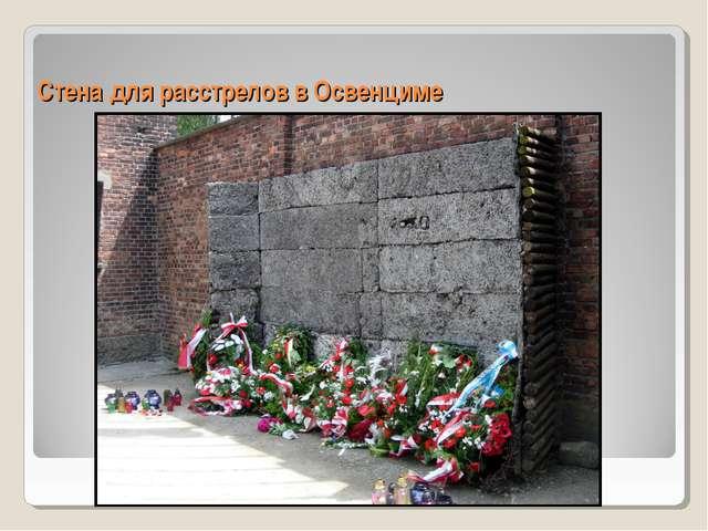 Стена для расстрелов в Освенциме