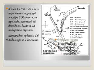 8 июля 1790 года нанес поражение турецкой эскадре в Керченском проливе, помеш