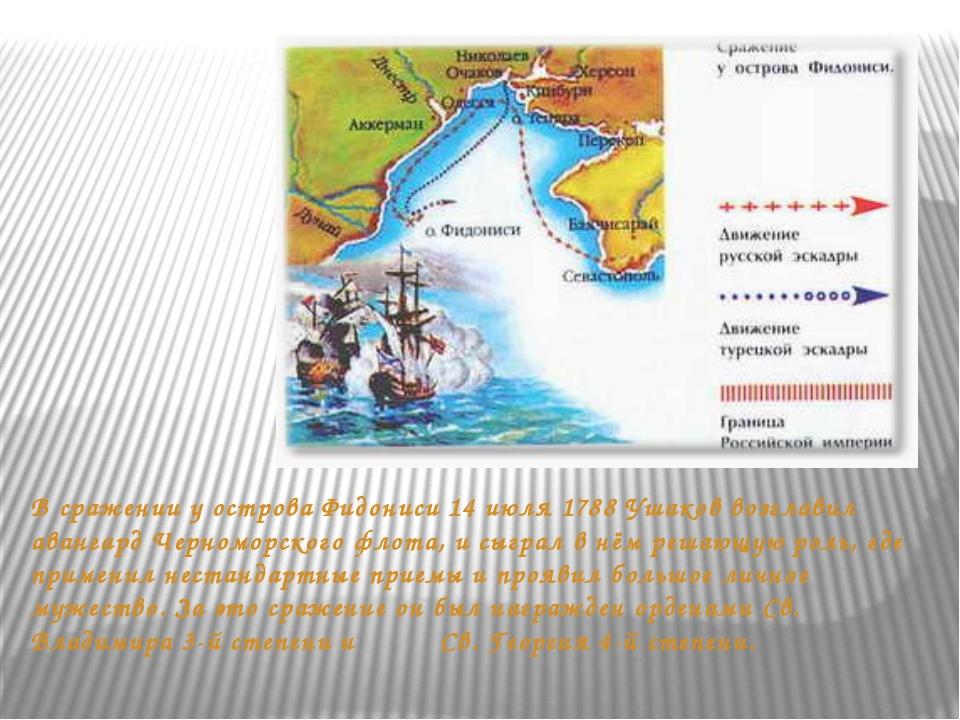 В сражении у острова Фидониси 14 июля 1788 Ушаков возглавил авангард Черномор...